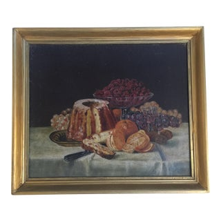 Antique Still Life Oil Painting With Fruit & Nuts