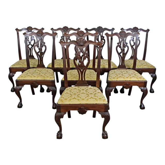 Set Of 8 Vintage Chippendale Mahogany Ball & Claw Dining
