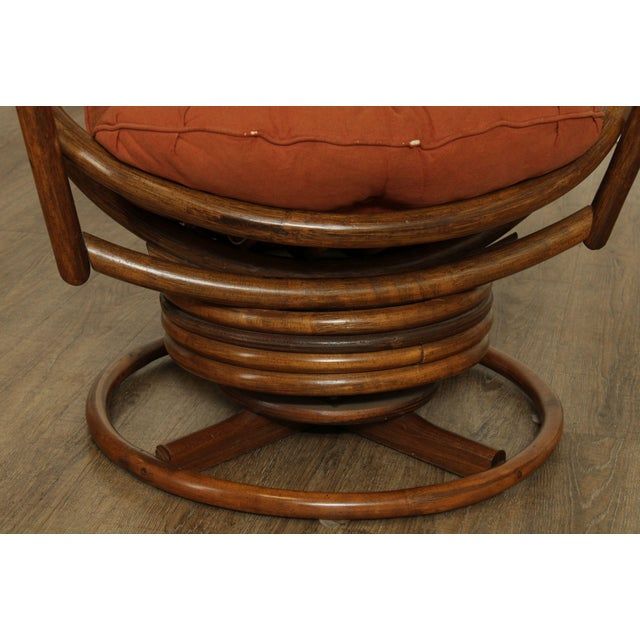 Mid Century Pair Rattan Swivel Rocking Lounge Chairs For Sale - Image 10 of 13