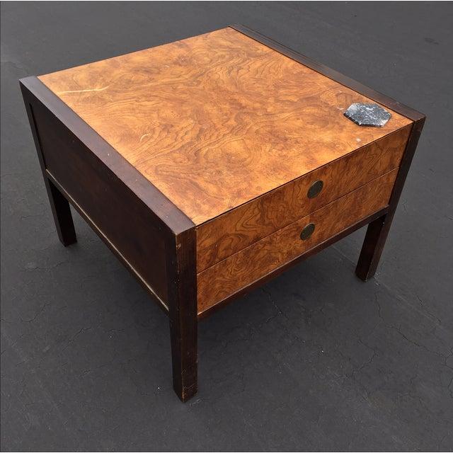 Burl Wood & Mahogany 2 Drawer Side Table - Image 3 of 10