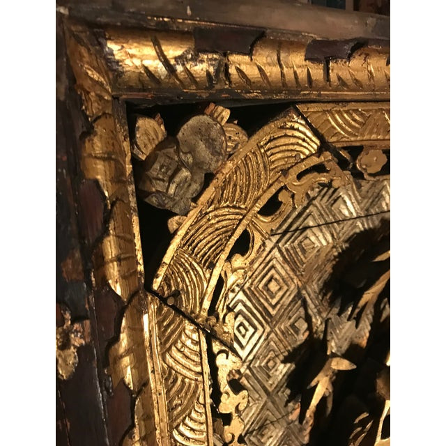 18th Century Antique Qing Chinese Carved Giltwood Temple Wall Panel For Sale In New York - Image 6 of 13