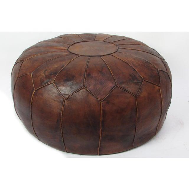 Surprising Large Vintage Leather Moroccan Pouf Ottoman Lamtechconsult Wood Chair Design Ideas Lamtechconsultcom