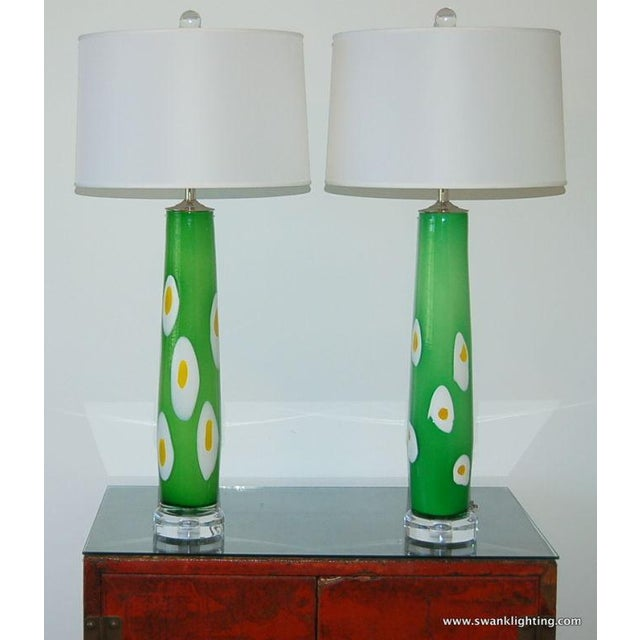 Vintage Murano Glass Table Lamps Green Yellow For Sale In Little Rock - Image 6 of 8