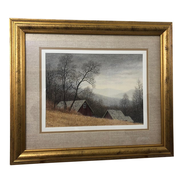 Original Realist Peter Keating Dreamy Watercolor of Mountainside Barn For Sale