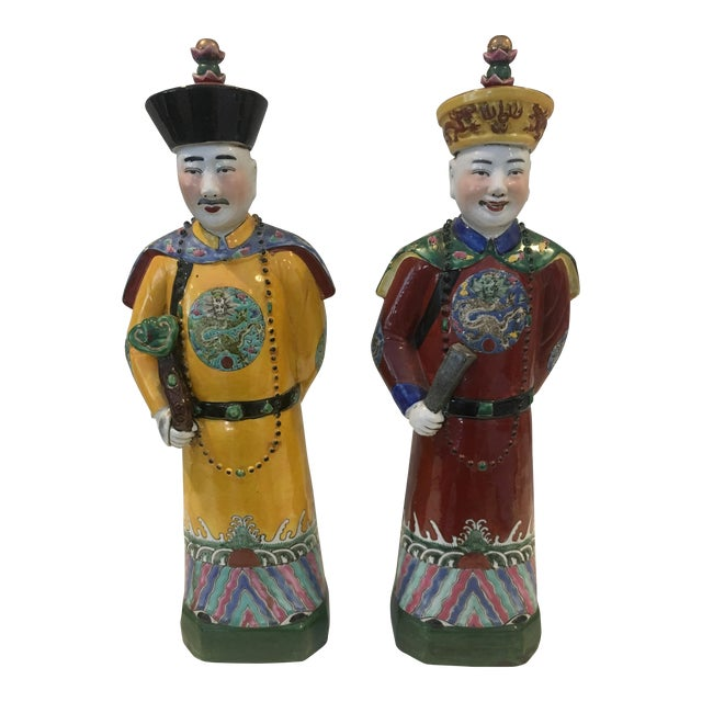 Chinese Qing Dynasty Emperor Figures - A Pair For Sale