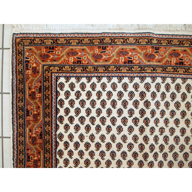 Vintage Handmade Indian Seraband Style Rug - 4′ × 5′8″ - Image 7 of 10
