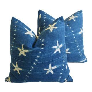 "Malian Indigo Blue & White Starfish Feather/Down Pillows 18"" Square - Pair For Sale"