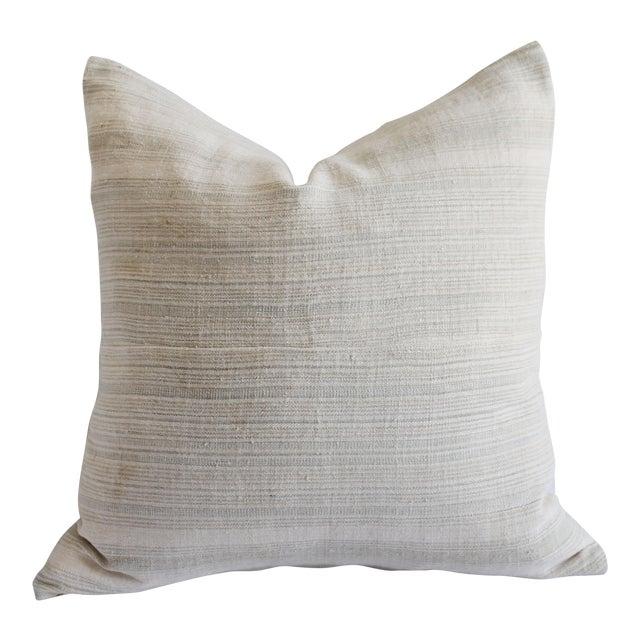 Vintage European Linen Stripe Textile Pillow For Sale
