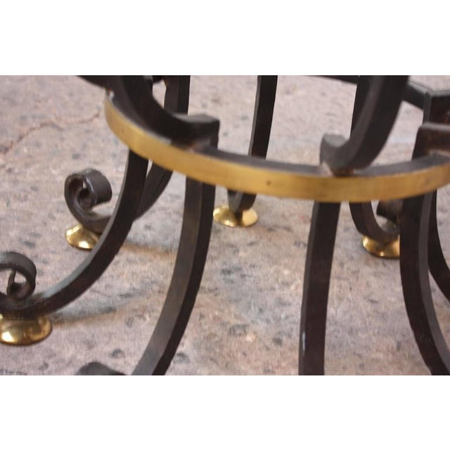 Hollywood Regency Style Brass and Steel Center Table after Maitland-Smith - Image 7 of 9