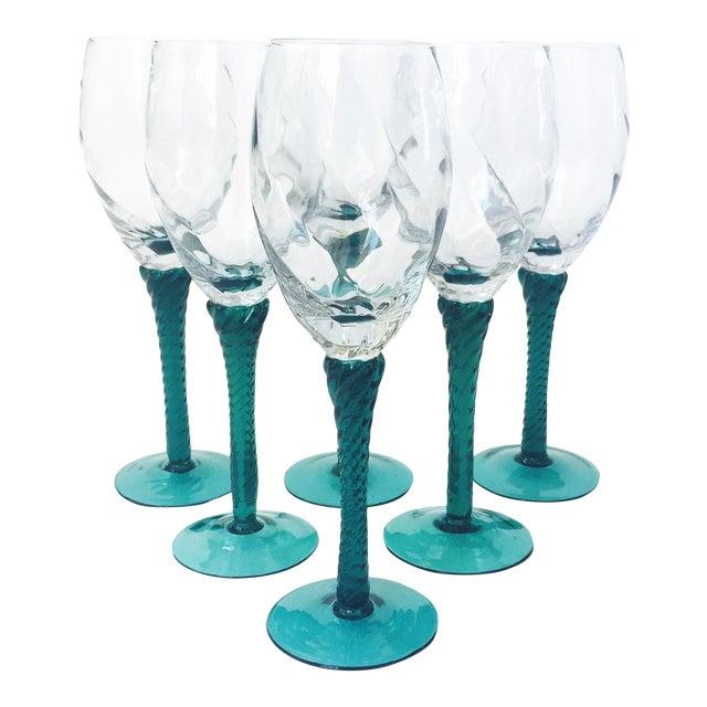 Vintage Green Stemmed Champagne Glasses - Set of 6 For Sale