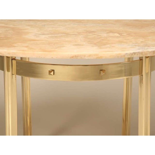 Metal Custom Made Modern Brass & Onyx Dining Table For Sale - Image 7 of 11