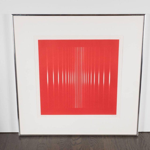Dynamic Mid-Century Modern Op-Art Signed Serigraph by Ennio Finzi in Vibrant Red For Sale - Image 10 of 10