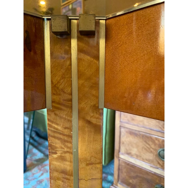 Amber 1970s Vintage Burlwood and Glass Dining Table For Sale - Image 8 of 13