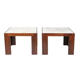 Tobia Scarpa for Cassina Marble Topped Rosewood Framed Tables - a Pair