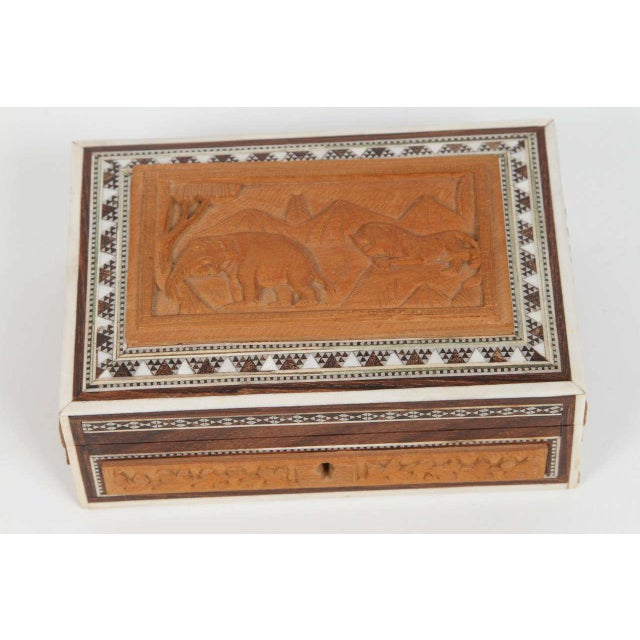 Early 20th Century Anglo-Indian Vizagapatam Jewelry Inlaid Box For Sale - Image 5 of 5
