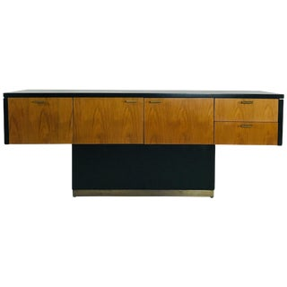 Walnut and Ebonized Cantilever Credenza For Sale