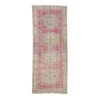 1960's Vintage Oushak Distressed Rug- 4′4″ × 11′ For Sale