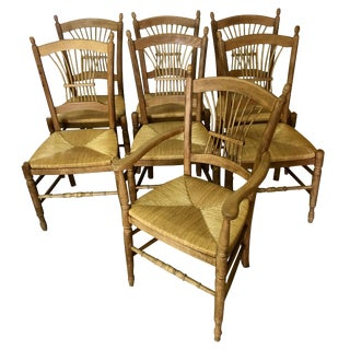 7 Italian Maple Chairs With Rush Seats For Sale
