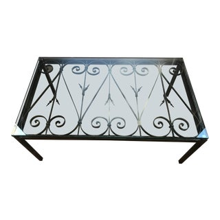 Modern Wrought Iron Heavy Glass Coffee Table