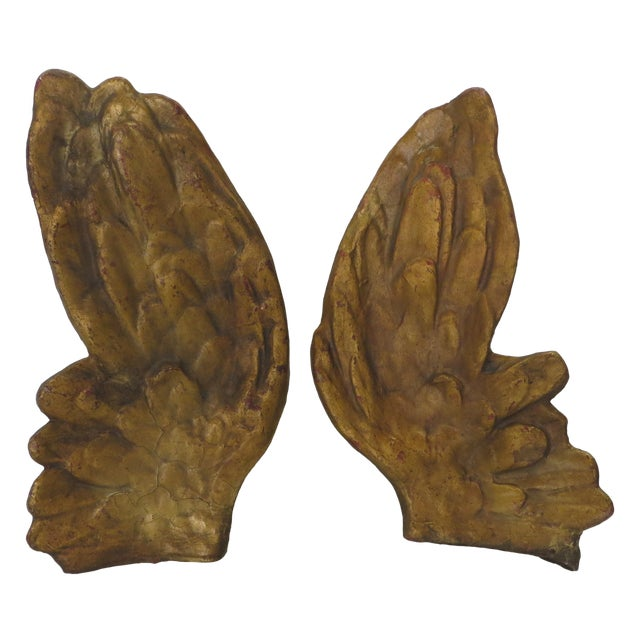 19th Century Large Angel Wings on Stands - Pair For Sale