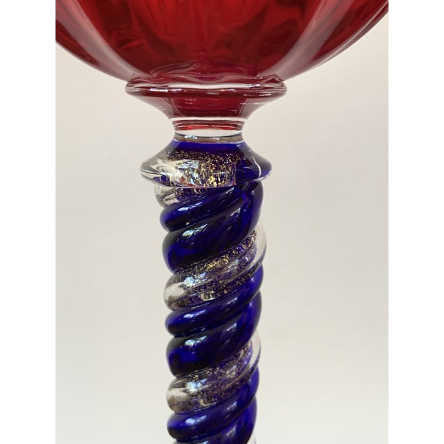 Set of Three Modern Murano Glass Goblets, Blue, Red and Amethys - Set of 3 For Sale - Image 4 of 13