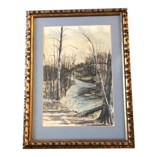 Original Vintage Landscape With Stream Watercolor Painting Ornate Original Frame 1970's Signed For Sale