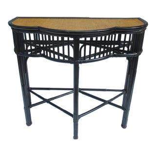 British Colonial, Anglo-Indian Style Black Rattan & Cane Console, Entry Table, Dry Bar For Sale