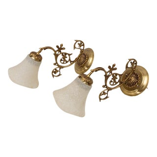 Hollywood Regency French Rococo Brass Wall Sconce Lights, a Pair For Sale