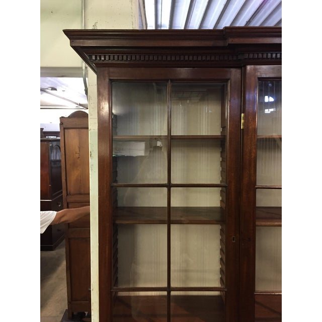 Wood 19th C. Vintage English Mahogany Breakfront For Sale - Image 7 of 8