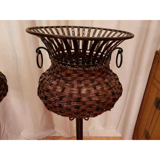 Traditional 1980s Vintage Iron, Metal and Wicker Plant Stands - A Pair For Sale - Image 3 of 7