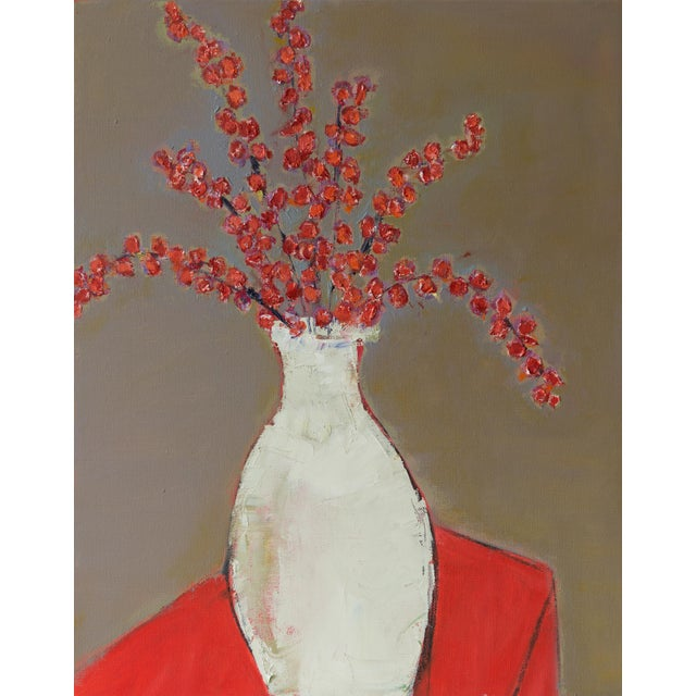 """Bill Tansey """"White Vase With Berries"""" Oil on Canvas For Sale"""