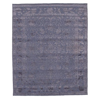 Pasargad N Y Hand Knotted Modern Silk Rug - 8' X 10' For Sale