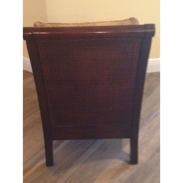 Ethan Allen Rattan & Cherry Wood Accent Chairs - A Pair - Image 4 of 6