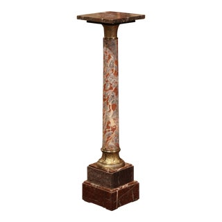 19th Century French Carved Variegated Marble Pedestal Table With Brass Rings For Sale
