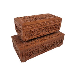 Carved Wood Stacking Boxes, S/2 For Sale