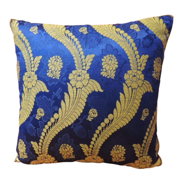 19th Century French Silk Brocade Royal Blue Square Decorative Pillow For Sale