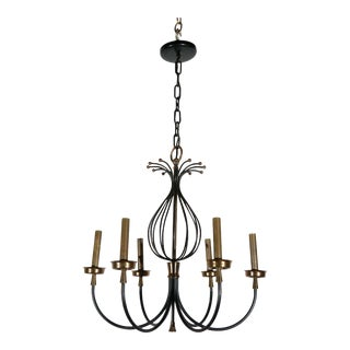 French Black & Brass Chandelier For Sale