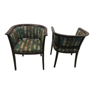 Vintage Barrel Back Accent Chairs - Pair For Sale