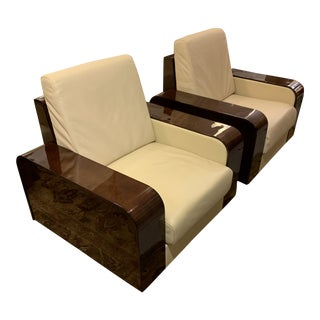 Giorgio Monte Carlo Collection Curly Sycamore + Leather Arm Chairs - a Pair For Sale