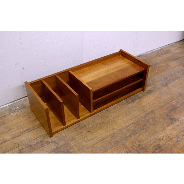 "Vintage wooden desk caddy with great mid-century style. Marked ""Made in Denmark"". Measures 23 3/4"" wide x 9"" deep x 6 7/8""..."