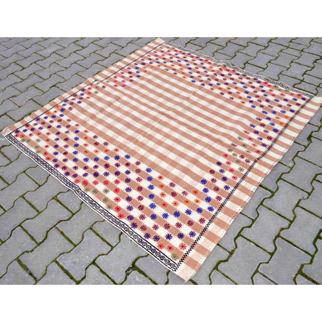 Mid-Century Modern Vintage Hand Woven Kilim Rug. Turkish Cotton Kilim Sofreh Deco Rug - 4′11″ X 5′1″ For Sale - Image 3 of 11