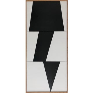 "Original Acrylic Painting ""Black Jagged Triptych Jet0595"" For Sale"