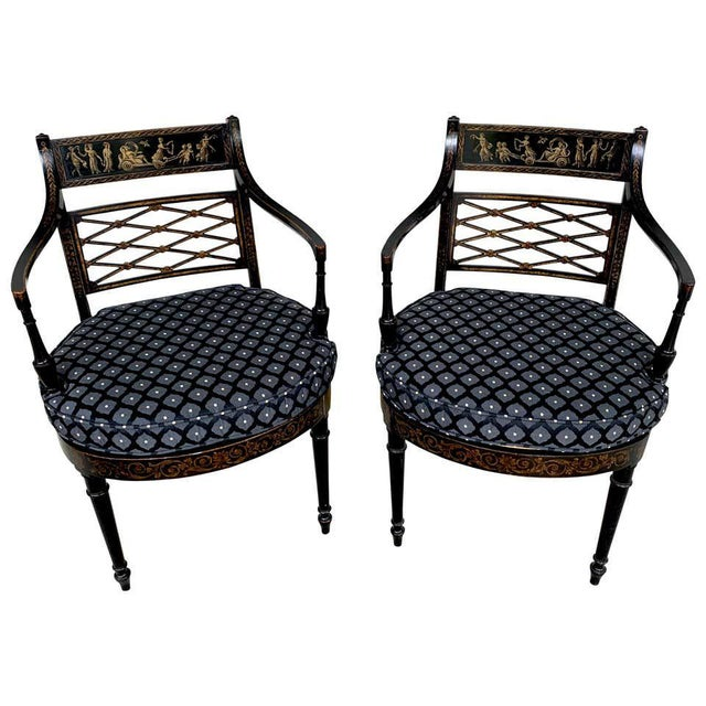 Regency Black and Polychrome Cane Seat Armchairs - a Pair For Sale - Image 10 of 10