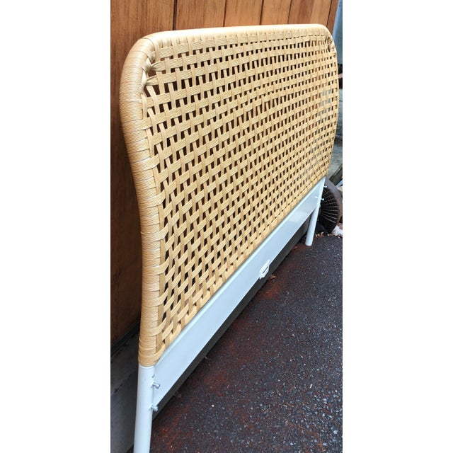1980s Vintage Boho Chic Full Size Woven Cane Headboard For Sale - Image 5 of 7