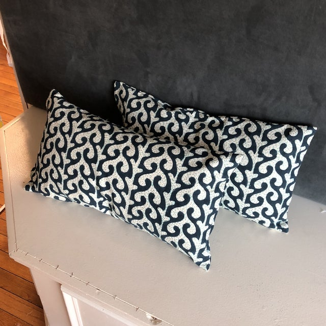 Navy Waves Hand Stitched Pillows - A Pair - Image 4 of 7