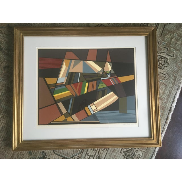 """1970s Vintage Mid-Century Modern Abstract Geometric """"African Landscape I"""" Lithograph Print For Sale - Image 5 of 10"""