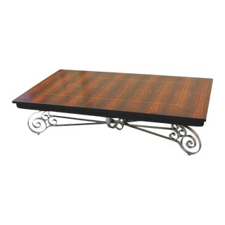 Monumental French Art Deco Iron Base Exotic Macassar Ebony Coffee Table Circa 1940s