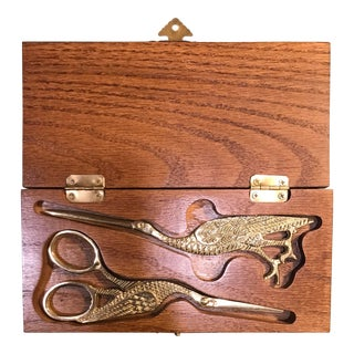 Brass Peacock Scissors and Letter Opener in Wood Box For Sale