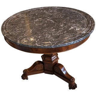 French Charles X Gray Mottled Marble Top Table For Sale