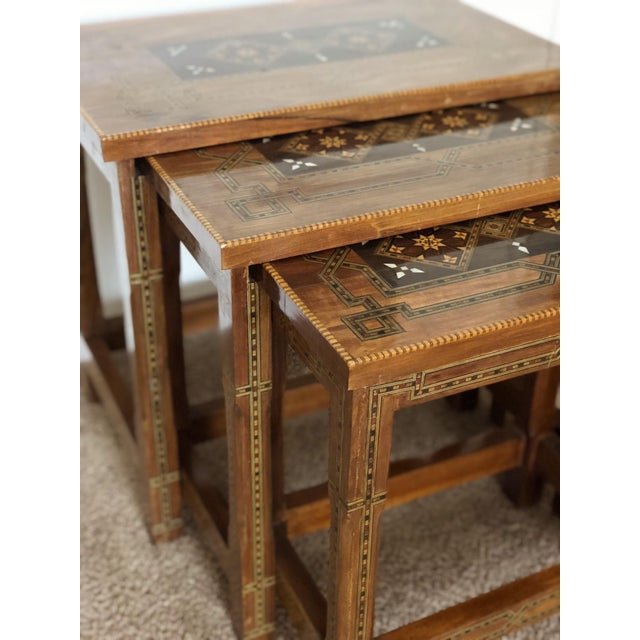 1990s Mosaic Inlay Syrian Walnut Nesting Tables - Set of 3 For Sale In Los Angeles - Image 6 of 7